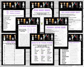 Star wars Baby shower games set of 8 games purple Starwars Printable INSTANT DOWNLOAD  UPrint  by greenmelonstudios starwars baby shower