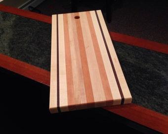 Artisan cutting board. 9.25 x 19in. Maple walnut cherry