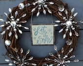 Snowflake Wreath, Let is Snow Wreath, Christmas Wreath, Holiday Wreath, christmas decor