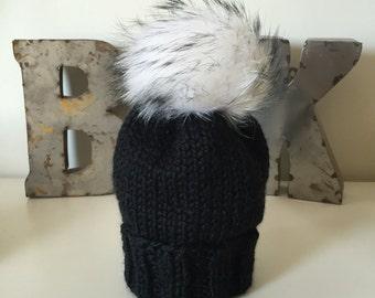 Black Wooly Hat w. Fur POM POM