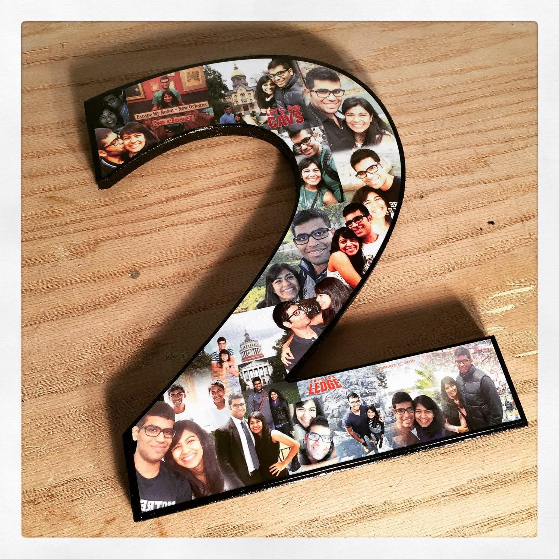 Collage de fotos en forma de n mero 2 regalo aniversario - Como hacer un collage de fotos a mano ...