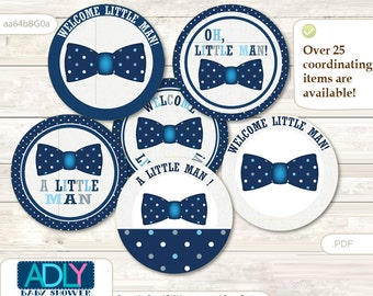 Boy Bowtie Cupcake Toppers for Baby Shower Printable DIY, favor tags, circles, It's a Boy, Polka - aa64bBG0