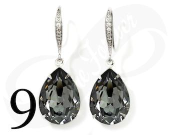 Set of 9 Bridesmaid Earrings Silver Night Earrings Set of 9 Bridesmaid Gifts Teardrop Earrings Silver Night Bridal Jewelry Wedding Jewelry