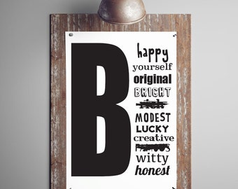 Be Happy Print, Motivational Print, Quotation Poster