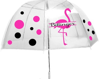 Personalized Clear Dome Umbrella , Adult size, Pink Flamingo Umbrella, Great Birthday Gift, Back to School, or Teacher Gift