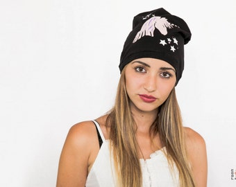 Slouchy beanie, UNICORN slouchy hat, Womens beanie, Hat, Black hat, Unicorn print hat, Black cotton beanie, Gifts for women, Yoga beanie hat