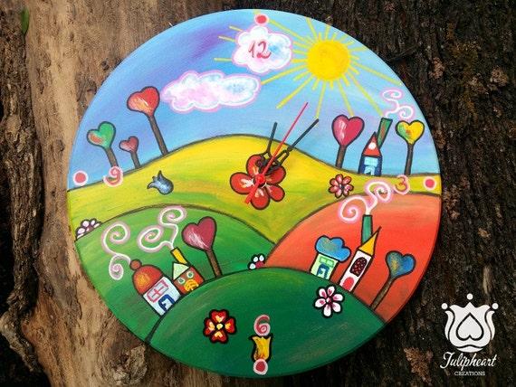 Whimsical land clock, Love trees, Home decor, kids, children clock, hand painted clock, handmade wall clock