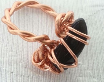 Black Tourmaline and Twisted Copper Defense Ring
