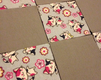 KIT or PRE-BUY - Car Seat Cover/Canopy or Quilt - Grey Kittens/Cats Print - Cotton Flannel Rag Quilt
