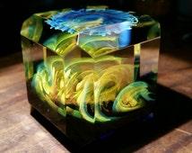 "1.31"" Handmade Faceted Cube By ~Ethan Lesch~  Borosilicate, Boro, Art glass,"
