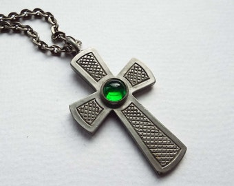 Vintage 1960's Jorgen Jensen Pewter Pendant Necklace Green Glass Cabochon Danish Mid Century Modernist Religious Celtic Cross