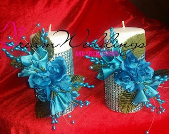 Candle Set- Turquoise Rhinestone Candles,Bling Candles,Custom candles,wedding candles