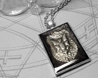 Bat Shield : hand embossed repoussé metal pendant necklace
