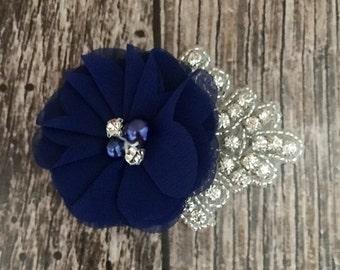 Navy blue hair clip, flower girl hair clip, rhinestone hair clip, flower hair clip, alligator clip, wedding clip