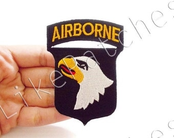 Airborne New Sew / Iron On Patch Embroidered Applique Size 6cm.x8.3cm.