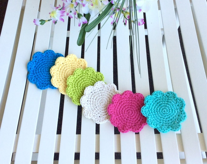 Colorful Crochet Flower Drink Coasters Set of 6