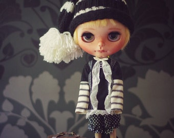 SALE 3 piece outfit / pjs with hat for Blythe Doll -  fits Pure Neemo S, Licca, Takara