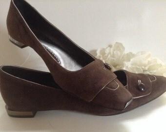 Giorgio Armani Metal Trim Suede Shoes EU 35.5 Brown Couture Botton Italian Shoes Made in Italy