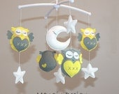 SALE!!!Gorgeous cot mobile yellow grey owl musical mobile felt owl moon star lullaby owl mobile decorations nursery decor musical mobile