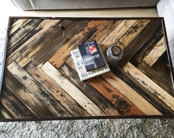 Gorgeous Herringbone Reclaimed wood Livingroom coffee table w/ hairpin legs Mid century Modern Rustic