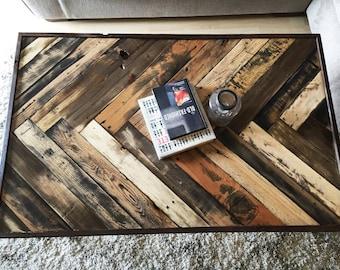 Gorgeous Herringbone Reclaimed wood Livingroom coffee table w/ hairpin legs Mid century Modern Rustic