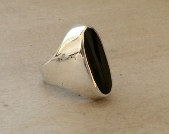 Vintage Sterling Silver .925 Onyx Modernist Minimalist Ring sz 10