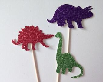 12 Dinosaur Glitter Cupcake Toppers - Dino - T-Rex - Birthday Party - Dinosaurs