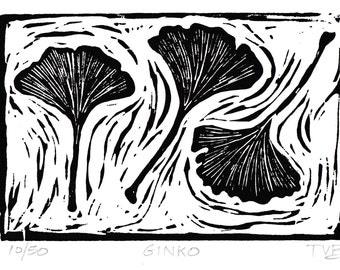 Ginko (Black & White)- Hand Pulled Linoleum Block Print