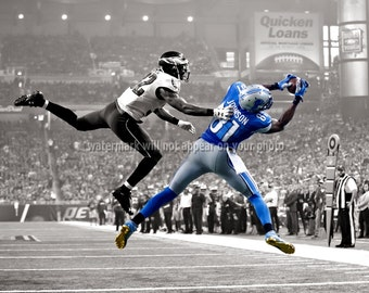 """DETROIT LIONS - Calvin Johnson - """"SPOTLIGHT"""" Photograph - avail in 8x10 11x14 or 16x20 - nfl Football Sports Picture Photo Print"""