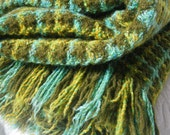 Vintage 100% wool Pendleton throw | stadium blanket | afghan in moss green, yellow, turquoise