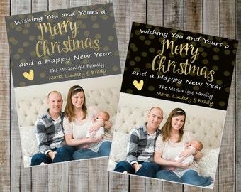 Digital Christmas Card / Christmas Card / Holiday Card / Holiday photo card / Christmas photo card  / Black and Gold Christmas card