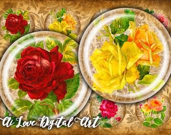 """Vintage Rose, digital collage sheet 1.5"""", 30mm, 1 inch circle digital download cabochon, vintage ephemera bottlecap images, instant download"""