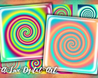 Instant download cabochon, digital printable images 1.5 inch, 20mm, 1 inch square, colorful Spiral digital collage sheets, jewelry making