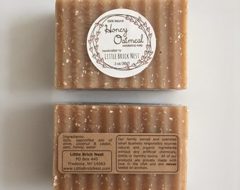 Honey Oatmeal Soap - All Natural, Exfoliating (pack of 2)
