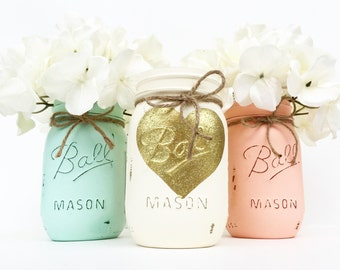 Set Of 3 Mason Jars Mason Jars Valentine S Day Home Decor Centerpieces