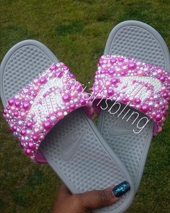 1e9b49e00df0df Bling nike slides nike shoes accessories by Jukoriahsbling on Etsy low-cost