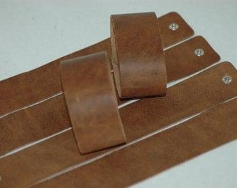 Wholesale 1.5 Inch Wide Genuine DISTRESSED BROWN Leather Cuff Bracelet - Cuff Wristband -10pk Cuff Blank # 111