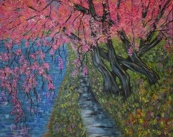 Fine Art Print Wall Art, Cherry Tree Blossoms, Colorful Wall Decor, Washington D.C. Cherry Trees, Impressionism Art