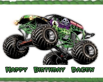 Grave Digger/Monster Truck Edible Cake Topper with FREE Personalization