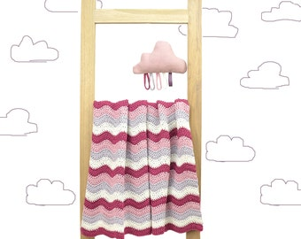 Crochet Bamboo Cotton Baby Blanket and Linen Toy-Cloud, Lilac and Creamy White, Summer Blanket, Baby Plaid