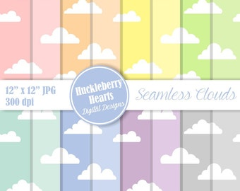 Cloud Paper, Digital Cloud Paper, Seamless Clouds, Commercial Use, Printable