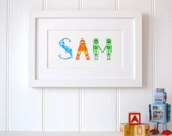 Personalised Robot Name Art prints - 2-4 letters