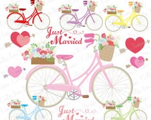 Bicycle Clipart , Bike clipart, Floral Bicycle, Wedding , Arrows, Flower Basket , Heart clipart, Wedding bike clipart (CG219)