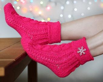 Hand knitted wool socks, Soft knitted socks, Hand knitted womens wool socks, Cerise ladies socks