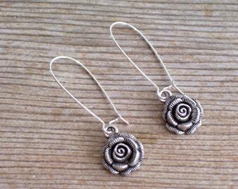 Silver Rose Earrings, Antiqued Silver Rose Earrings, Silver Floral Earrings, Flower Jewelry, Textured Floral Dangle Earrings