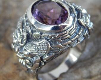 Silver ring motif amethyst stone boma