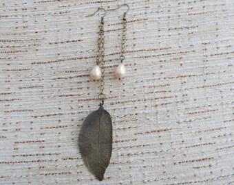 Antique Bronze Filigree Leaf and Pearl Drop Earrings