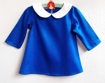 Girl Mod Dress - Peterpan collar long sleeves Royal Blue Dress, Madeline Costume