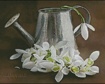 """Cross stitch pattern PDF """"Snowdrops in the watering can"""""""