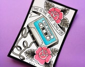 Mix tape Brand New Tattoo Flash Print by Michelle Coffee